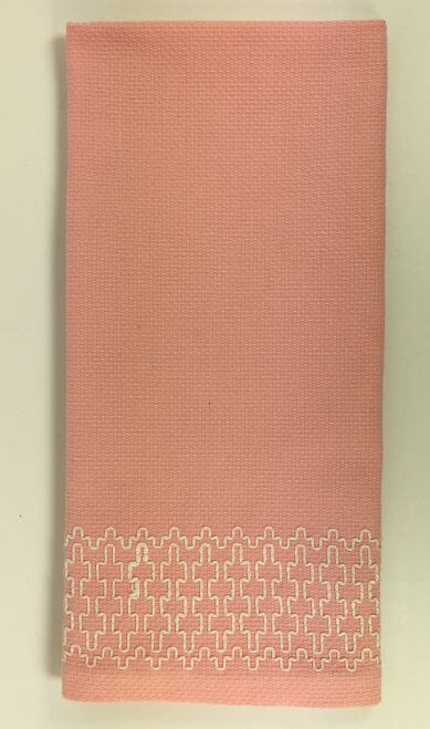 Vintage Kitchen Towels Napkins Pink White Geometric Stitching