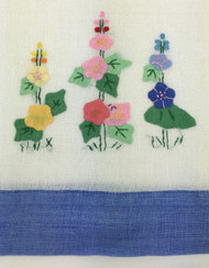 Vintage Kitchen Towel Hollyhocks with Blue Border Detail