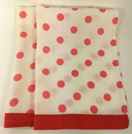 Vintage Kitchen Towels Red Pink Polka Dots Set of 2