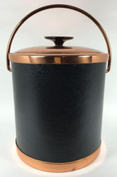 Vintage Ice Bucket Black Leather Brass Copper