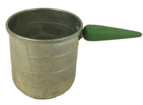 Vintage Green Wood Handle Aluminum Measuring Cup
