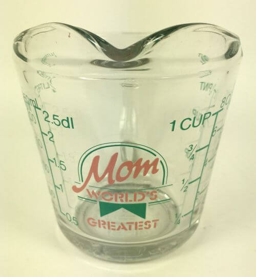 Vintage Worlds Greatest Mom Measuring Cup Pink Teal
