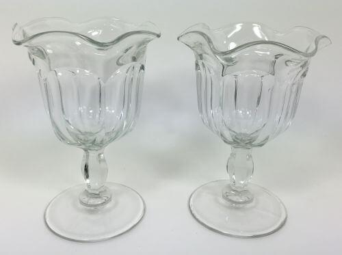Vintage Ice Cream Sundae Dish Cup Stem Set of 2