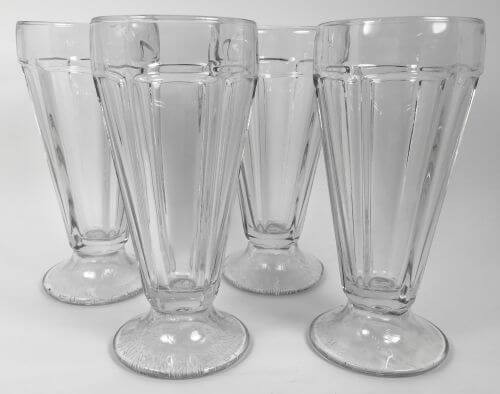 Vintage Clear Glass Soda Fountain Ice Cream Sundae Set of 4