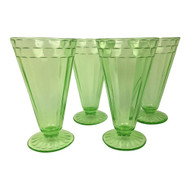 Vintage Green Depression Footed Tumbler Set of 4