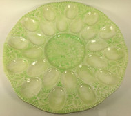 Vintage Large Green Cream Deviled Egg Plate Platter Tray Oysters