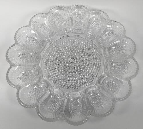 Vintage Deviled Egg Plate Indiana Glass Hobnail