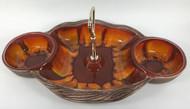 Vintage Sequoia Ware Red Orange Yellow chip dip 668 USA