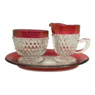 Vintage Diamond Point Ruby Cream Sugar Tray Set
