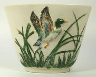 Vintage Mallard Duck Vase with Green Sea Grass