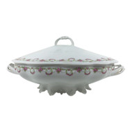 Vintage Oval Covered Vegetable Dish with Garland and Pink Roses Altrohlau MZ Austria