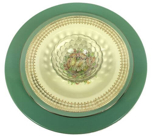 Vintage Mixed Pattern Place Settings Turquoise Flowers Lifetime China Knowles Hocking Bubbles