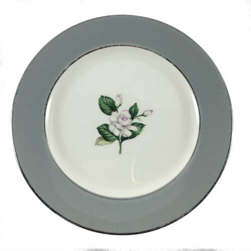 Vintage Bread & Butter Plates Homer Laughlin Gray Band White Rose