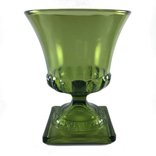 Vintage Dark Green Pressed Glass Vase Square Base 7 inch
