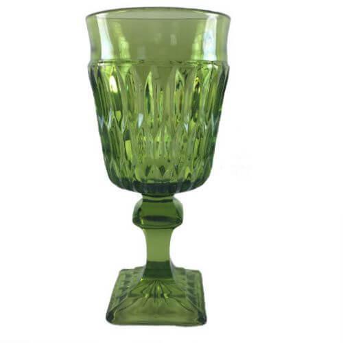 Vintage Small Wine 4 oz Dark Green Pressed Glass Mt Vernon Indiana Glass