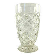 Vintage Depression Glass Footed Tumbler, Waterford Clear Pattern by Anchor Hocking