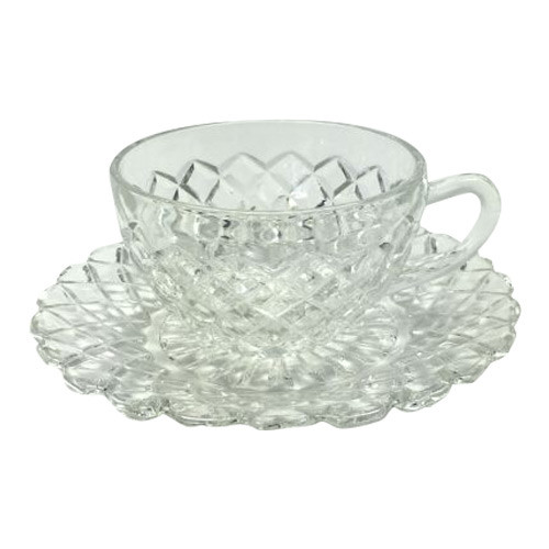 Vintage Depression Glass Waterford Clear Anchor Hocking Cup Saucer
