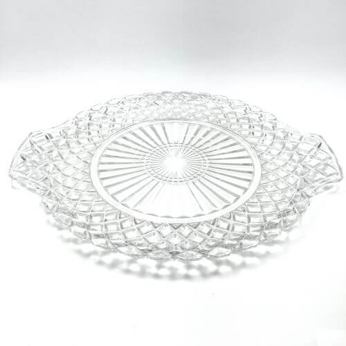 Vintage Handled Cake Plate Depression Glass Waterford Clear Anchor Hocking