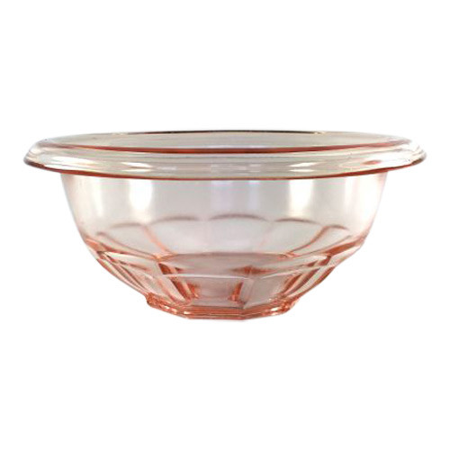 Vintage Pink Mixing Bowl with panels and rolled edge Rest Well Pattern by Hazel Atlas