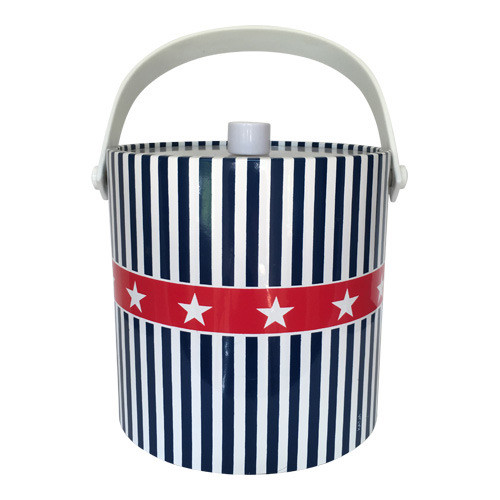 Vintage Patriotic Ice Bucket Red White Blue