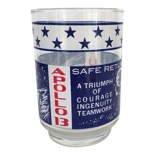 Vintage Apollo 13 Glass Tumbler Red White & Blue