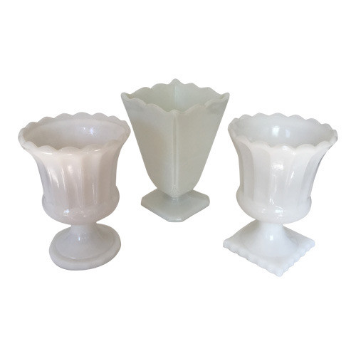 Collection of 3 White Milk Glass Vases Urns or Planters