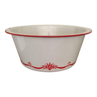 Vintage Large Enamelware Bowl Decorative Bottom Red White