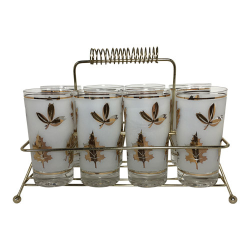Vintage Tumblers with Caddy Libbey Gold Leaves Foliage