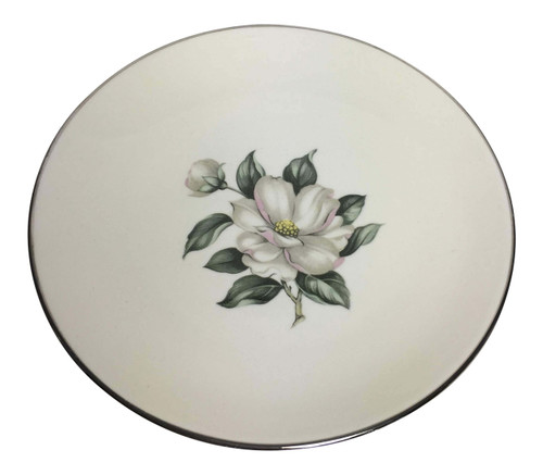 Vintage Homer Laughlin White Magnolia Rhythm Bread Plate