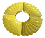 Vintage California Pottery Yellow Scalloped Lazy Susan Dishes