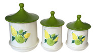 Vintage Holiday Designs Yellow Fruit Kitchen Canister Jar Set