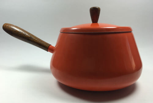 Vintage Orange Fondue Pot with wood handle and cover lid