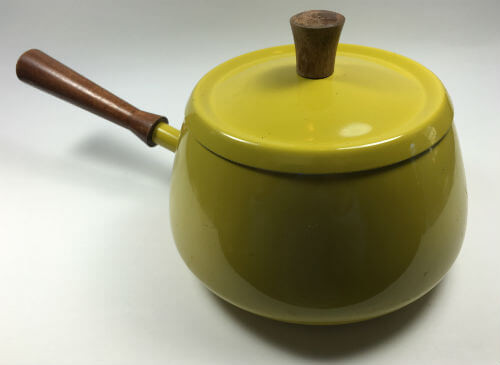 Vintage Yellow Fondue Pot with Lid Cover
