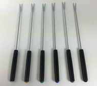 Vintage Fondue Forks black handles and colored tips 9 inches set of 6 top view