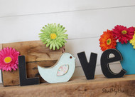 "Bird - Unfinished ""O"" Letter - Home & LOVE Series (Bird)"