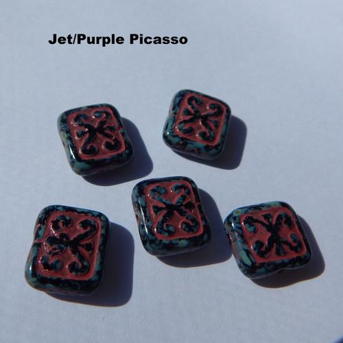 Czech Glass 12x11mm Ornamental Rectangle Fancy Colors (5 beads) - Choos color