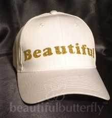 You will always sparkle and shine with a Beautiful Cap. This is a brushed twill 100% cotton ball cap with an adjustable strap. One size fits most.