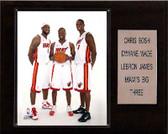 """NBA 12""""x15"""" LeBron James- DwyaneWade-Chris Bosh Miami Heat Player Plaque"""