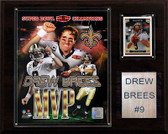 "NFL 12""x15"" Drew Brees New Orleans Saints Super Bowl MVP Plaque"
