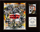 "NFL 12""x15"" New Orleans Saints Super Bowl XLIV Champions Plaque, Gold Edition"