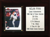 "MLB 6""X8"" Nolan Ryan Texas Rangers Career Stat Plaque"