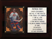 "MLB 6""X8"" Patrick Roy Montreal Canadiens Career Stat Plaque"