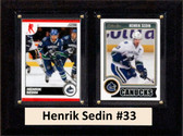 "NHL 6""X8"" Henrik Sedin Vancouver Canucks Two Card Plaque"