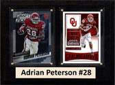 "NCAA 6""X8"" Adrian Peterson Oklahoma Sooners Two Card Plaque"