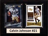 """NCAA 6""""X8"""" Calvin Johnson Georgia Tech Yellow Jackets Two Card Plaque"""