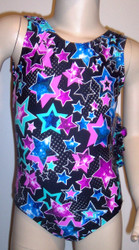 Super price on this gymnastics and/or dance leotard in a STAR GALAXY spandex - multicolored star design on black spandex.  Available in tank or racer back. Free scrunchie included as always!