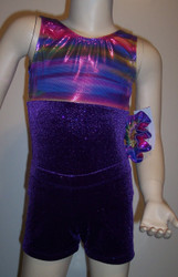 Adorable gymnastics leotard in a multi-colored purple metallic spandex split with purple sparkle velvet.  Available in tank or racer back.  Pair of purple sparkle velvet shorts included. Free scrunchie included as always.