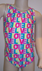 Cute gymnastics and/or dance leotard in a NEON LOVE spandex. Available in tank or racer back. Free scrunchie as always!