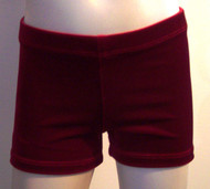 Perfectly priced deep red velvet gymnastics and/or dance shorts.