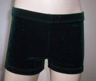 Perfectly priced green velvet gymnastics and/or dance shorts.